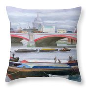 Busy Scene At Blackfriars Throw Pillow