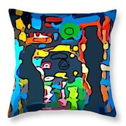 Busy Streets Downtown Throw Pillow
