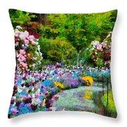 Butchart Gardens In The Rain Throw Pillow