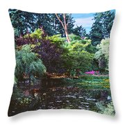 Butchart Gardens Is A Group Of Floral Display Brentwood Bay Throw Pillow