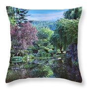Butchart Gardens Is A Group Of Floral Display Gardens British Columbia Canada 3 Throw Pillow
