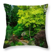 Butchart Gardens Pathway Throw Pillow