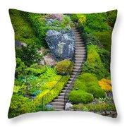 Butchart Gardens Stairs Throw Pillow