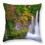 Butchart Waterfall And Fountain-- Throw Pillow