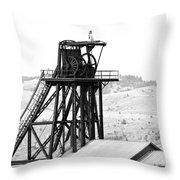 Butte Mine Shaft Throw Pillow