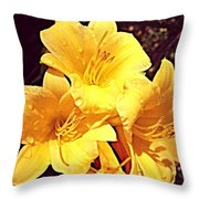 Butter Yellow Lilly Cluster Throw Pillow