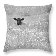 Buttercup In Black-and-white Throw Pillow by JD Grimes