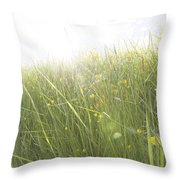 Buttercups Flowers And Sun Flare Throw Pillow