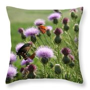Butterflies And Bull Thistle Wildflowers Throw Pillow
