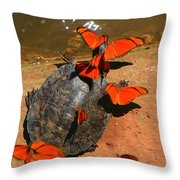 Butterflies And Turtle Throw Pillow