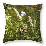 Butterflies In Golden Garden Throw Pillow