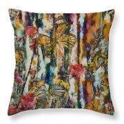Butterflies In Plum Blossoms And Texture Throw Pillow