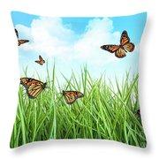 Butterflies In Tall Wet Grass  Throw Pillow