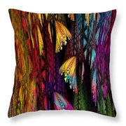 Butterflies On The Curtain Throw Pillow