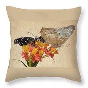 Butterflies Snd Flowers Throw Pillow