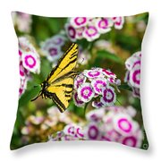 Butterfly And Blooms - Spring Flowers And Tiger Swallowtail Butterfly. Throw Pillow