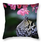 Butterfly And Blossoms Throw Pillow