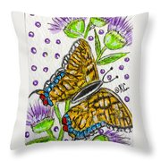Butterfly And Thistles Throw Pillow