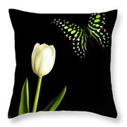Butterfly And Tulip Throw Pillow