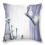 Butterfly At The Veil Throw Pillow