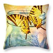 Butterfly Blue Glass Jar Throw Pillow
