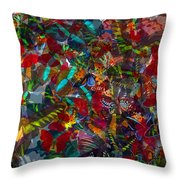 Butterfly Collage Red Throw Pillow