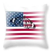 Butterfly Embedded With Usa National Flag Throw Pillow