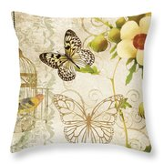 Butterfly Green Collage Throw Pillow by Grace Pullen