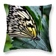 Butterfly - Green Leaf Throw Pillow