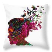 Butterfly Hair Throw Pillow