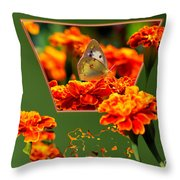 Butterfly In A Sea Of Orange Floral 02 Throw Pillow