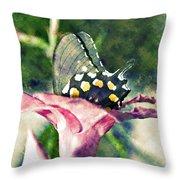 Butterfly In Flower Throw Pillow