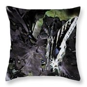 Butterfly In Violet Green And Black Throw Pillow