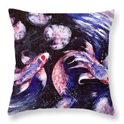 Butterfly Kois Throw Pillow by Zaira Dzhaubaeva