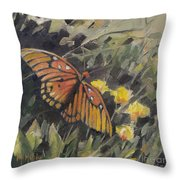 Butterfly Meadow With Yellow Flowers Throw Pillow