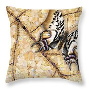 Butterfly Mosaic 01 Elena Yakubovich Throw Pillow by Elena Yakubovich