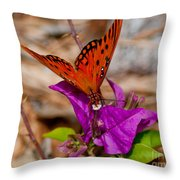 Butterfly On Bouganvilla Throw Pillow