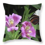 Butterfly On Pink Lillies Throw Pillow