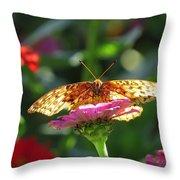 Fritillary Butterfly On Zinnia Throw Pillow