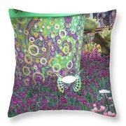 Butterfly Park Garden Painted Green Theme Throw Pillow