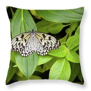 Butterfly Perching On Leaf In A Garden Throw Pillow