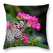 Butterfly Pollinating Flower Throw Pillow