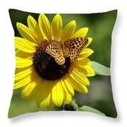Butterfly Sunflower Throw Pillow