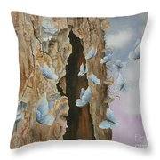 Butterfly Tree Throw Pillow by Paula Marsh