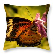 Butterfly With Flower Throw Pillow