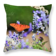 Butterfly With Message Throw Pillow