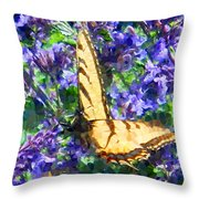 Butterfly With Purple Flowers 3 Throw Pillow