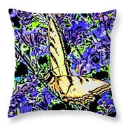 Butterfly With Purple Flowers Throw Pillow