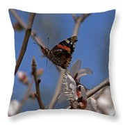 Butterfy In Almond Blossoms   #9289 Throw Pillow