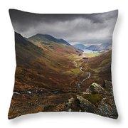 Buttermere Valley Autumn View Throw Pillow